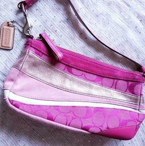 Coach Rose Gold/Pink/White Stripe Handbag
